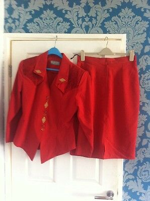 Ladies Red Matching Suit Jacket And Skirt