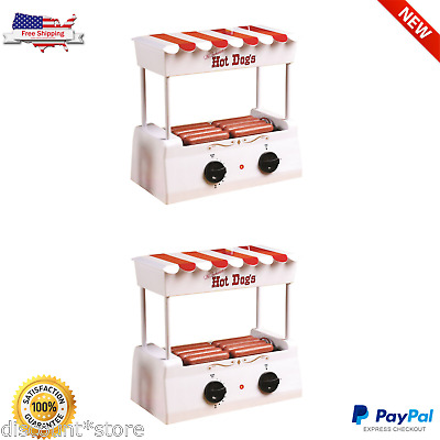 Hot Dog Roller Grill Machine Steamer Sausage Cooker Toaster Electric Bun Warmer
