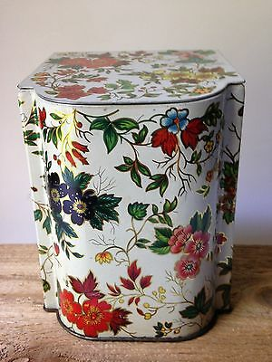 Vintage Daher Floral Hinged Lid Tin Container Made in England 1950's