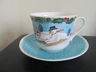 Roy Kirkham Large Bone China Breakfast Tea Cup And Saucer Mr Snowy Snowman