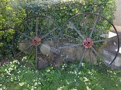 wrought iron carriage wheels x 2    stamped  Stenner and Gunn of Tiverton