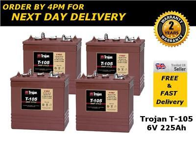 4x Trojan T105 Golf Cart / Buggy / Trolley Batteries 6V 225Ah - 2 Years Warranty