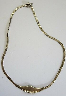 "8"" Vintage Gold Tone/faux Pearls Costume Jewelery Necklace"
