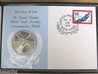 1970 United Nations Sterling Silver Proof World Youth Commemorative Medal Coin