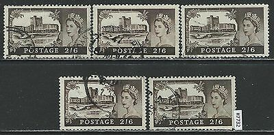 #7732 GREAT BRITAIN UK Sc#525 Castles, Queen Elizabeth Lot of 5
