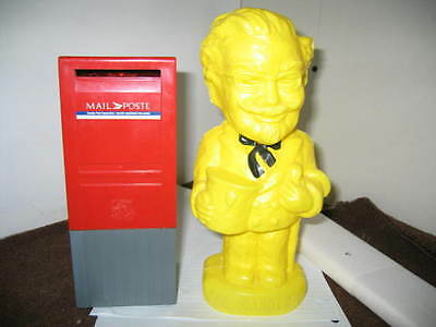 Two Banks Canada Post Mail Box Red & Colonel Sanders Coin Bank KFC yellow Rare