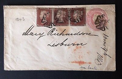 Rare GB QV 3 off x 1d red / brown stamps on cover with Malteze cancellations.