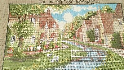 Cross stitch kinetic canvas (lower slaughter cotswalds )+ tapestry scroll frame