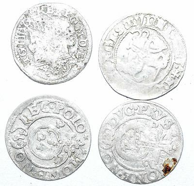 Lot Of 4 Medieval Silver Hammered Coins - Ancient Artifact Stunning - H330