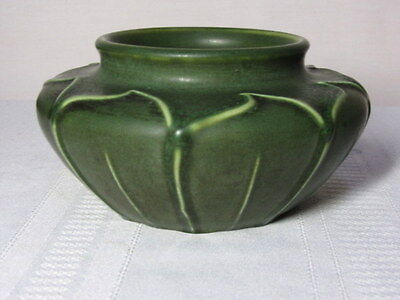 Hampshire Pottery, Matte Green Over Lapping Leaves Planter, Wonderful Form~~~