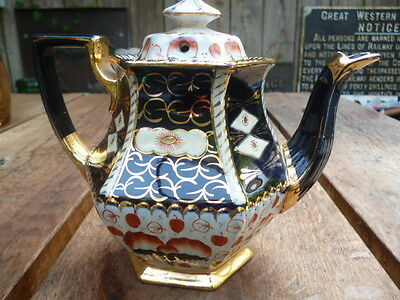Victorian Hand Painted Hexagonal Teapot  Enamelled Decoration
