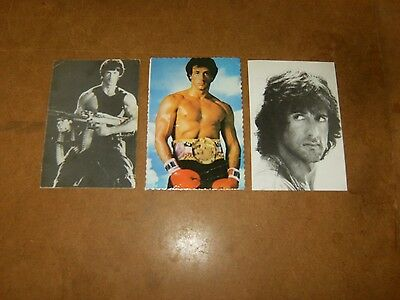 3 Anciennes cartes postales - SYLVESTER STALLONE rambo rocky - 80's