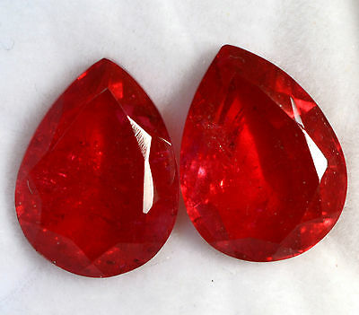 Ruby Color Doublet Pear Cut Pair 16x12 mm 16.95 Cts Red Shade Loose Gemstones