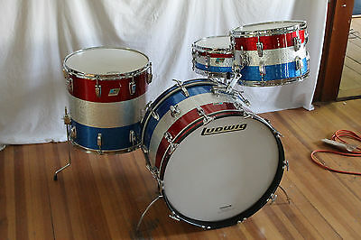Vintage 1969 Ludwig kit 22,13,16 & snr. 3 Ply w/rerings.Red/Silver/Blue sparkle