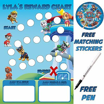 Children's Paw Patrol reusable Reward Chart, free stickers & pen MAGNETIC tm
