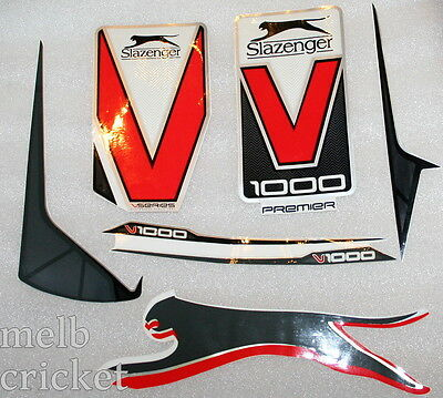SLAZENGER V1000 PREMIER - Red Cricket bat Stickers - 1 Full SET