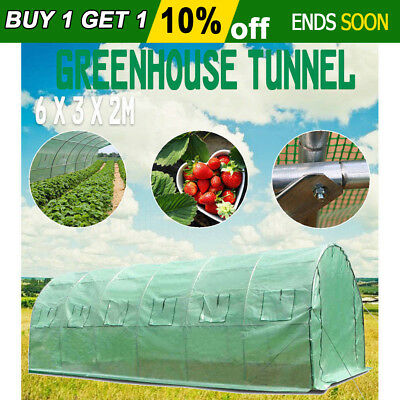 Greenhouse 6X3X2M Waterproof Plant Shed PE Cover Arch Roof Tunnel Large Walk In