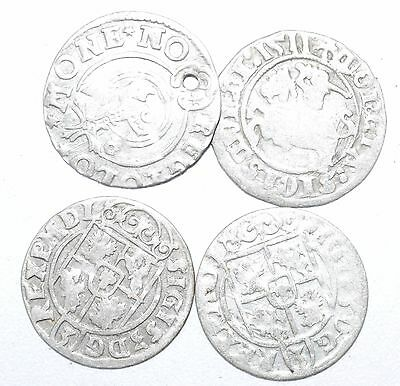 Lot Of 4 Medieval Silver Hammered Coins - Ancient Artifact Lovely - H347