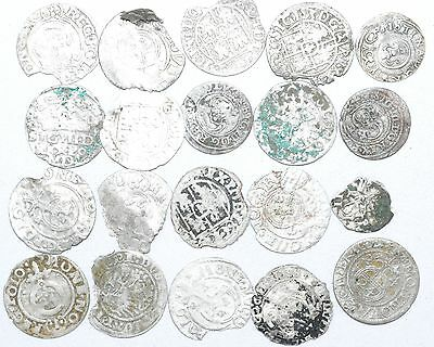 Lot Of 20 Medieval Silver Hammered Coins -Ancient Artifact Fantastic - H348