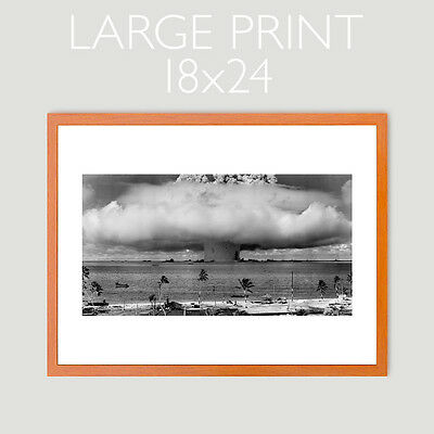 ATOMIC BOMB TEST BIKINI ATOLL BAKER MUSHROOM CLOUD LARGE 18x24 PHOTO PRINT 1946