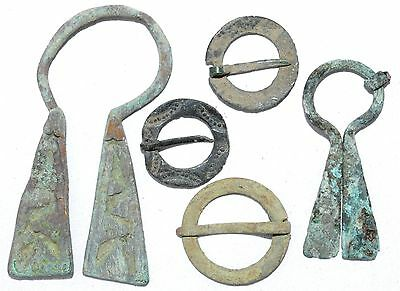 Lot Of 5 Viking Bronze Omega Penannular Brooches - Rare Ancient Artifacts - H350