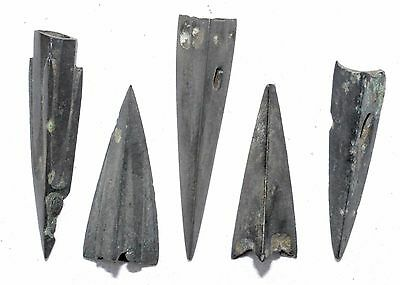 Lot Of 5 Ancient Bronze Arrow Heads - Superb Ancient Historical Artifacts - H351