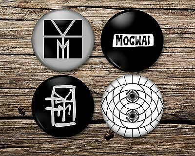 MOGWAI Badge Magnet Keyring Mirror set of 4 or single young team rave tapes, pin