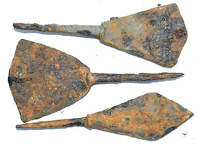 Lot Of 3 Roman Military Iron Arrow Heads -  Ancient Artifact Superb - H356