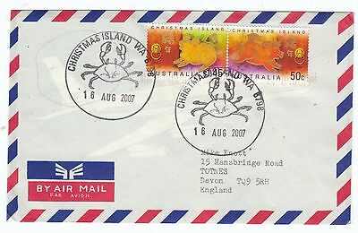 Christmas Island 2007 Airmail cover1 Year of the snake  Post Paid envelope to UK