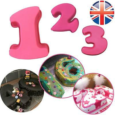 *UK Seller* EXTRA LARGE Silicone Number 1 2 3 Cake Baking Tin Mould Birthday