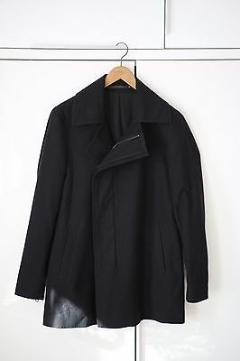 ALL SAINTS MENS BLACK JACKET COAT Medium PEACOAT MAC TRENCH NEW