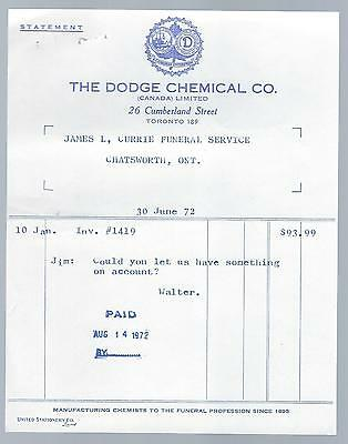 Funeral Home Invoice  The Dodge Chemical Co. Toronto For Ferno   Stretcher  1972