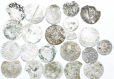 Lot Of 20 Medieval Silver Hammered Coins -Ancient Artifact Fantastic - H363