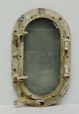 Antique Bronze Oval Porthole Glass WW2 Era Steampunk Mermaid Window Nautical Vtg