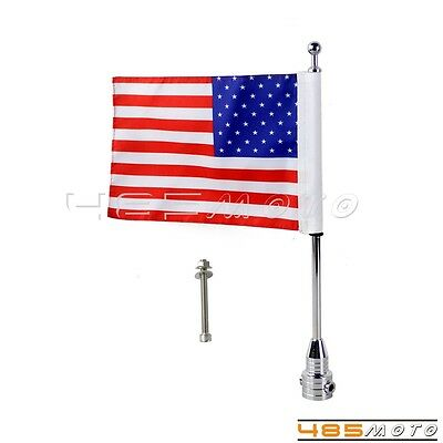 Cool Custom Motorcycle Silver Rear Side Mount Flag Pole with USA Flag For Harley