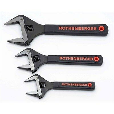 "ROTHENBERGER Adjustable wide jaw wrench set with jaw protectors 6"", 8"" and 10"""