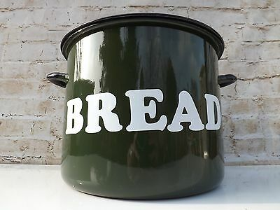 Vintage Retro 1980s Enamel Steel Bread Bin Traditional Green Immaculate