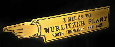 Wurlitzer Plant North Tonawanda Finger Point Embossed Street Sign Jukebox Aged