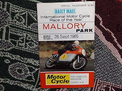 1965 Mallory Park Programme 26/9/65 - International Race Of The Year