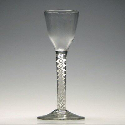 Georgian Glass With Double Series Opaque Twist Stem c1760