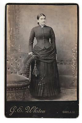 Antique Cabinet Photo Lady In Black Victorian Attire  G.e. Whiten Orillia Ont.