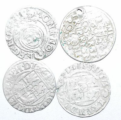 Lot Of 4 Medieval Silver Hammered Coins - Ancient Artifact Superb - H421
