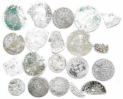 Lot Of 20 Medieval Silver Hammered Coins -Ancient Artifact Fantastic - H423