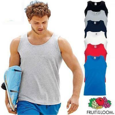 Mens Fruit of the Loom Plain Athletic Vests Tank Top Gym Training T Shirt