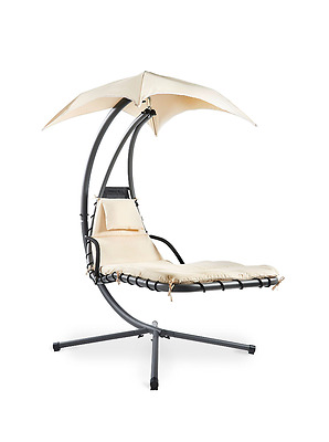 New Dream Swing Lounger Canopy Garden Outdoor Hanging Chair With Cushion Cream