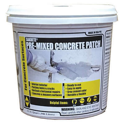 SAKRETE Premixed Concrete Patch,1 qt.,Tub, 120027, Gray