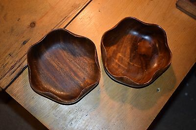 Vintage Shaped Set of two Wooden Bowls