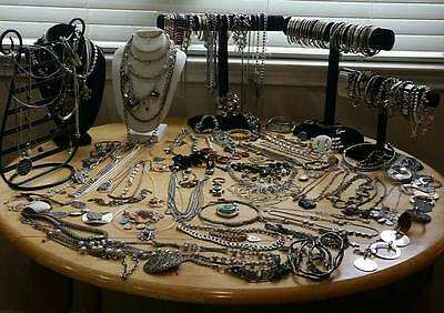 186 pieces 10 pounds silver tone  pre owned mix  jewelry  lot of 186 pieces