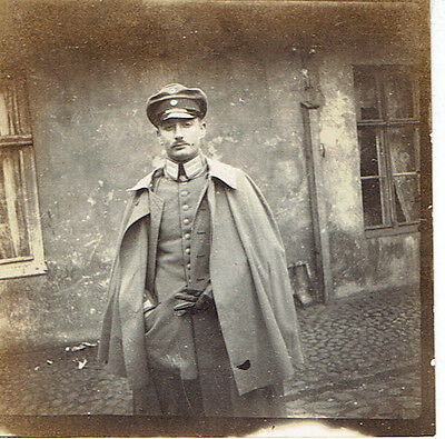 WW1 Original Photograph  German Officer in Overcoat with Gloves