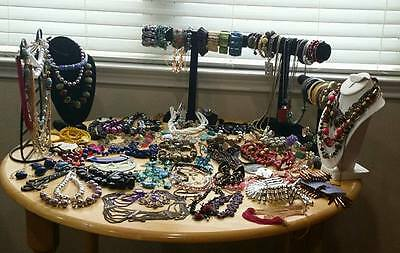 130 pieces Fashion Costume statement pre owned jewelry  lot of 130 pieces